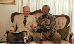 Mandela with Botha Walter DHLADHLA/AFP getty images